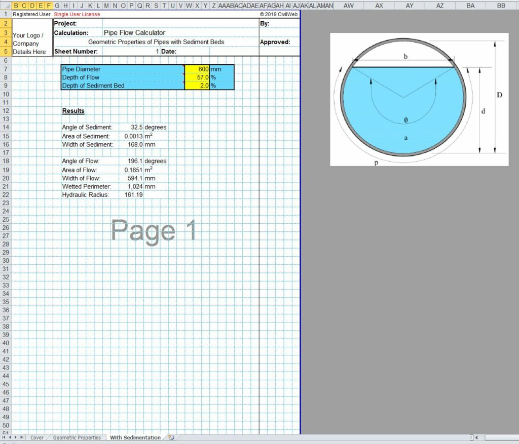 Pipe Flow Calculator Spreadsheet - CivilWeb Spreadsheets
